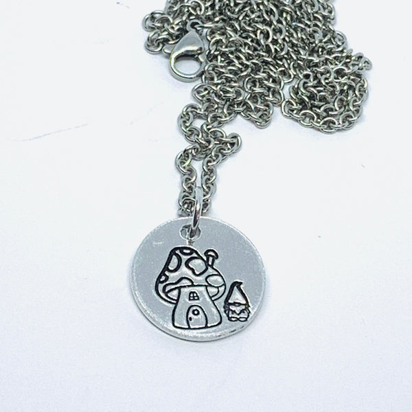 Toadstool and Gnome - Hand Stamped Necklace