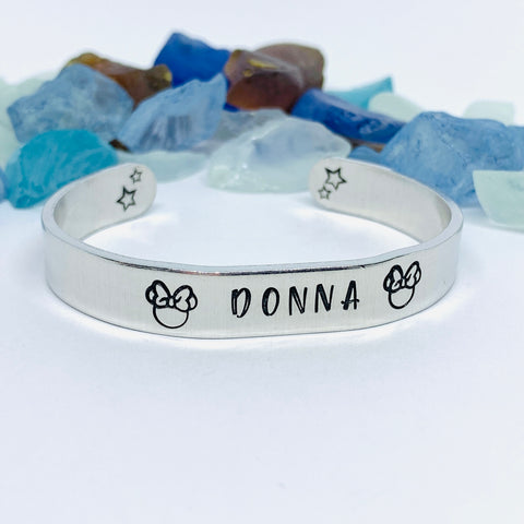 Disney-Inspired Mouse Cuff Bracelet | Hand Stamped Unisex Bracelet | His & Her Mouse Jewelry | Personalize Me