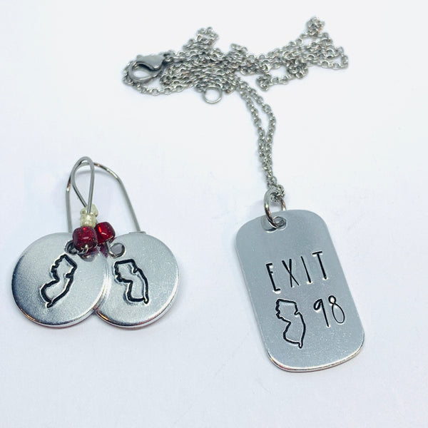 Exit # Tag - Hand Stamped Necklace