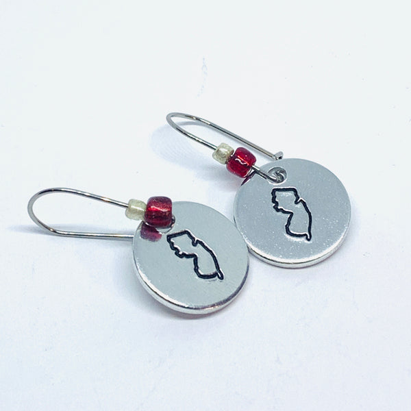 New Jersey State Outline Beaded - Hand Stamped Earrings