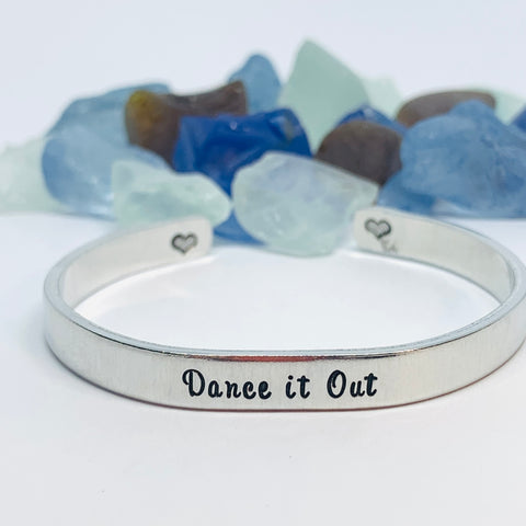 Dance it Out - Hand Stamped Metal Cuff Bracelet | Grey's Anatomy Fan Gift | Gift for Her | Christina & Meredith | BFF Bracelet | Friendship