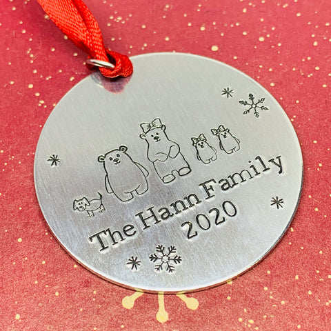 Personalized Family 2020 Ornament | Hand Stamped Holiday Ornament