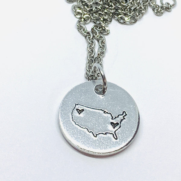 United States Distance - Hand Stamped Necklace