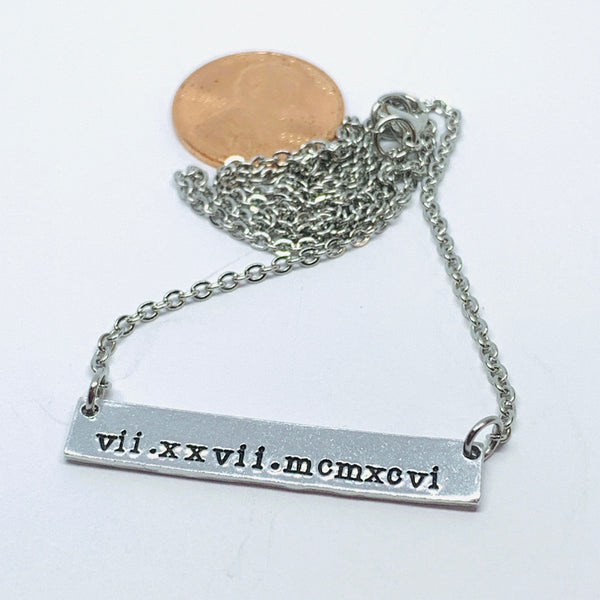 Roman Numerals - Hand Stamped Bar Necklace