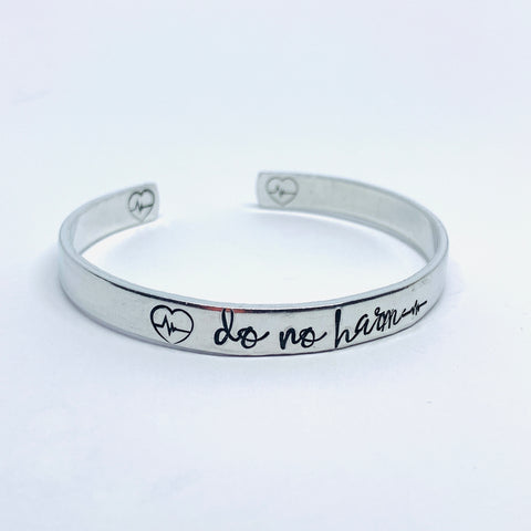 Do no harm, Take no shit - Hand Stamped Cuff Bracelet - Sample