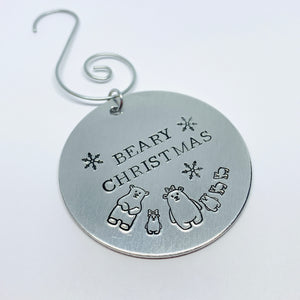 Beary Christmas - Hand Stamped Ornament - Personalized!