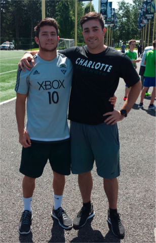 Sean with UNCC soccer player Brandt Bronico,  who's in Seattle for the summer  playing for the Sounders U23 team.