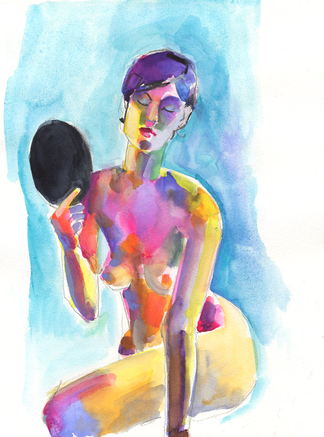 'How do I look?' Woman with Vanity Mirror - tibazi fine art