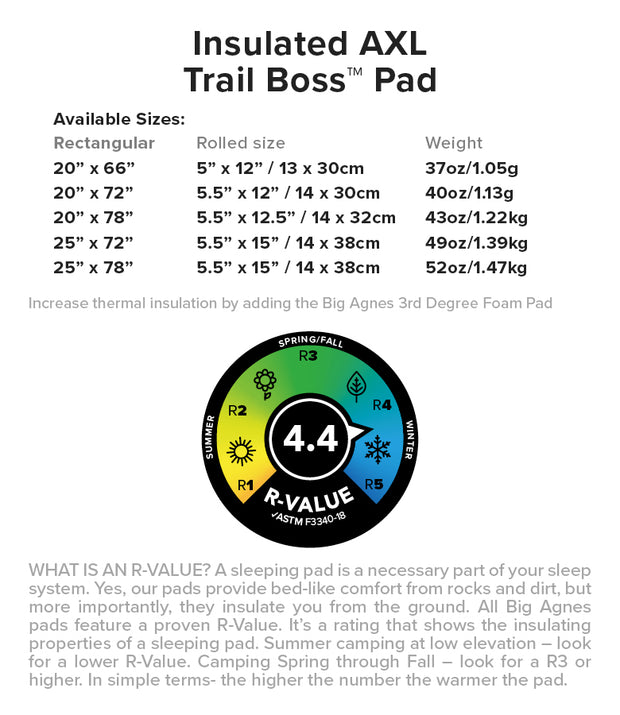 Insulated AXL Trail Boss- Sleeping Pad