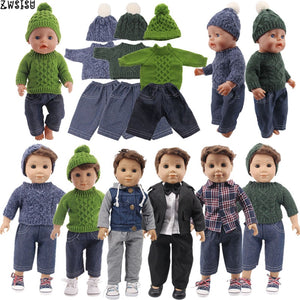 Doll Clothes 3Pcs/Set Hat+ Sweater+Jeans For 18 Inch American&43 Cm Born Logan Boy Doll Our Generation Baby Girl`s Christmas Toy