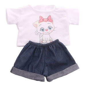 Doll Set = T-Shirt + Jeans Handsome Clothes Accessories Fit 18 Inch American&43 CM Born Baby,Girl's  Birthday Toys,Generation