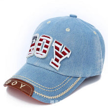 Load image into Gallery viewer, Spring Summer Baby Hat Boys Baseball Cap Kids Children Letter Snapback Caps Boy Jean Denim Cap Sun Hats baby boy baseball cap