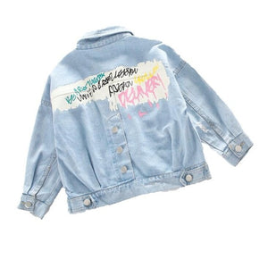 girls demin jacket 3-15T kids spring warm jacket teenage fashionable cartoon coat autumn baby girls tops kids jeans baby outwear