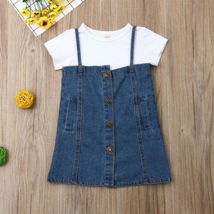 my first christmas girl Clothing Toddler Kid Baby Girl Clothes Casual Shirt Denim Dress Jean Skirt Outfit