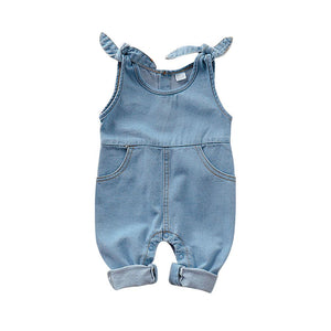 Baby Rompers Newborn Girls One Piece Jumpsuits Navy Jean Infantil Bebes Sleeveless Playsuits 0-18Month Children Overalls Clothes
