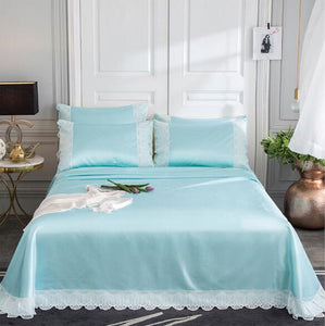 free ship velcro obed cover ice silk bedspread queen size summer cool lace edge bed cover machine washable folding solid color