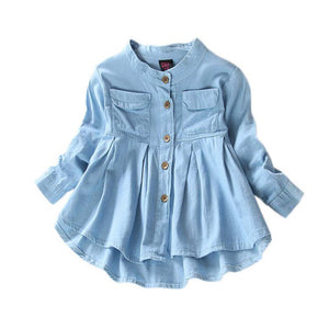 Denim Girl Blouses Clothing Autumn Baby Girls Jeans Shirts New Solid Jean Children Kids Long Sleeve Mandarin Collar Fashion Full
