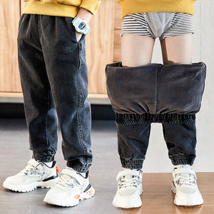 hot sale autumn and winter boys jeans 4-13 years old Cotton washed kids jeans Korean pants for baby boys jeans kids plus velvet
