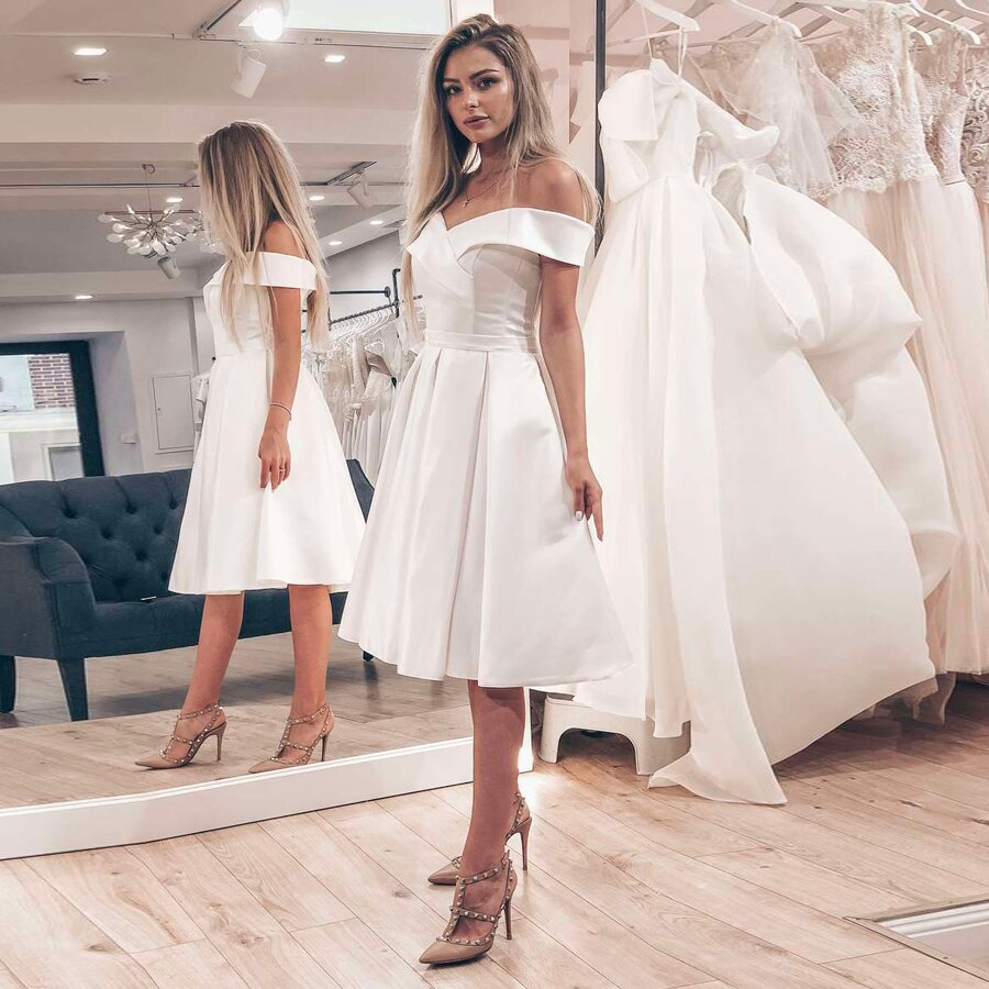 MYYBLE Cheap Satin Short Wedding Dress Bridal Gowns Simple Off the Shoulder A-line Wedding Dresses Robe De Mariage Plus Size
