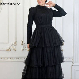 New Arrival High Neck Tulle Black Evening dress Long sleeve evening gown 2020 obe de soiree longue mariage long dresses evening