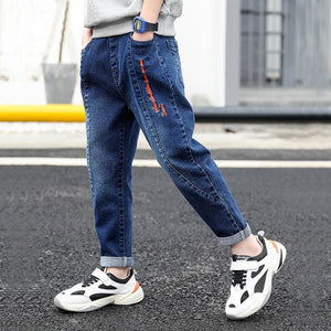 IENENS Kids Boys Jeans  Fashion Clothes  Classic Pants Denim Clothing Children Baby Boy Casual Bowboy Long Trousers  5-13Y
