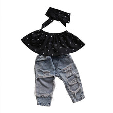 Load image into Gallery viewer, Newborn Infant Baby Girl Clothes Dot Sleeveless Top Vest Hole Jeans Pants Outfits Casual Fashion Summer 3pcs Clothing Set