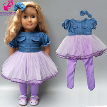 Load image into Gallery viewer, Baby new born Doll clothes jeans vest shirt and skirt for 18 inch girl doll coat white shirt denim dress set