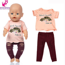 Load image into Gallery viewer, 43cm Baby Doll clothes hoody shirt vest dress 18 inch girl doll clothes jeans pants set baby girl birthday gift