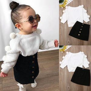 2020 Halloween Baby Girl Clothes Tracksuit For Children Clothing Girls Sets Top+ Skirt Hole Jeans Kids Clothes Girls 1-6 Year