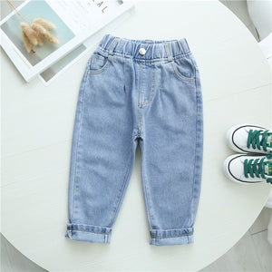 Autumn Spring Baby Boys Jeans Pants Kids Clothes Cotton Casual Children Trousers Denim Boys Clothes 2-6Year Blue and Beige
