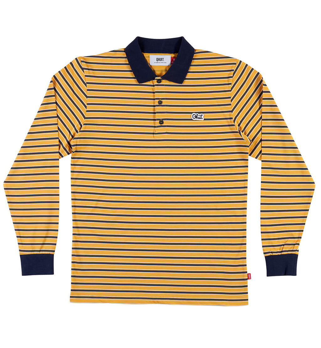 STRIPES, L/S polo yellow
