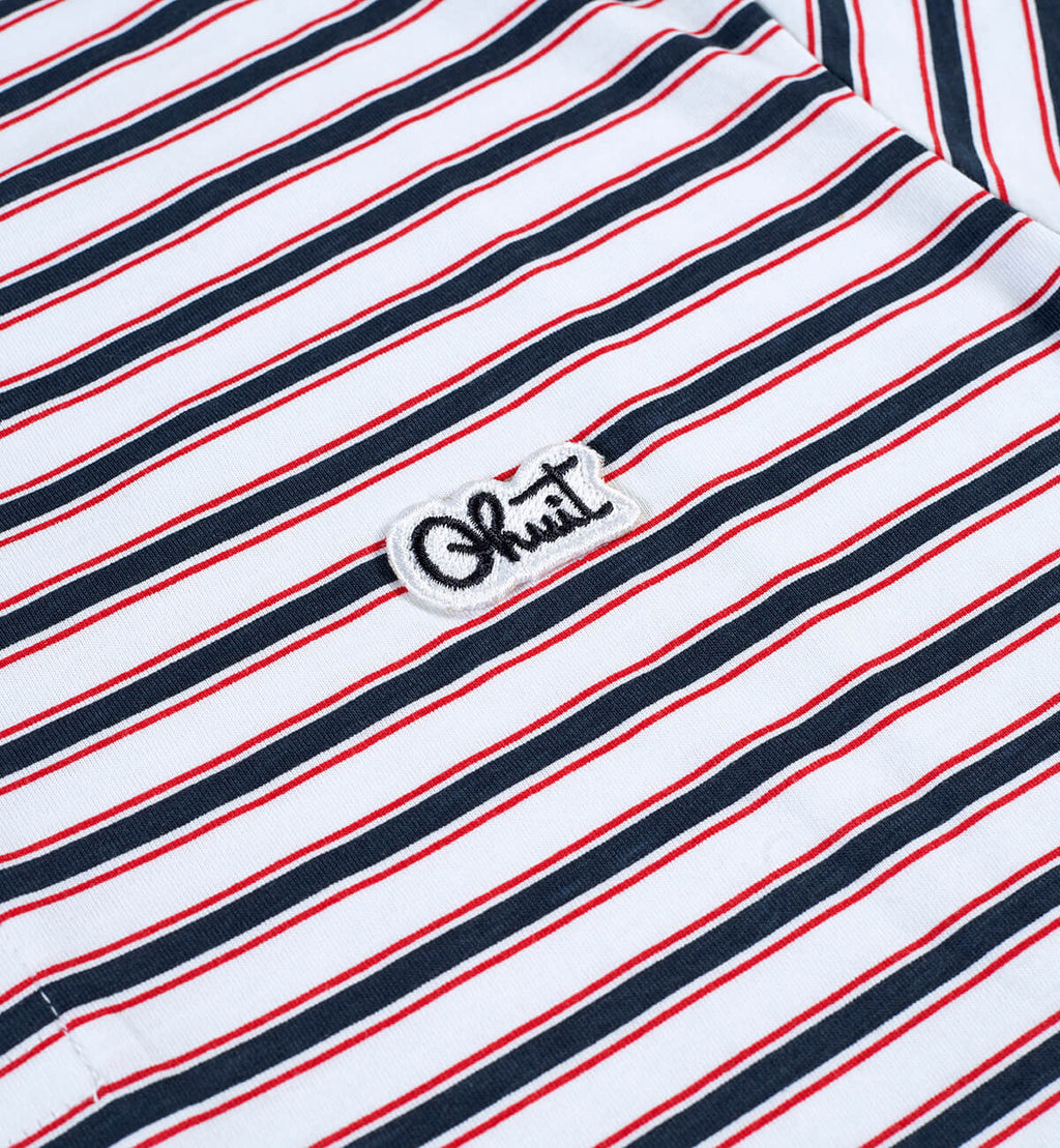 STRIPES, L/S polo white