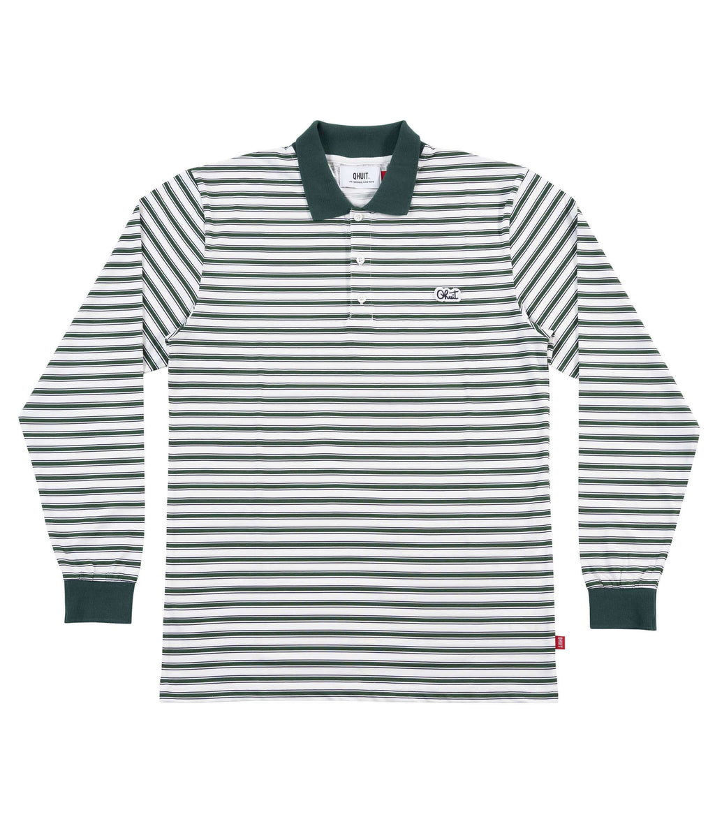 STRIPES, L/S Polo green