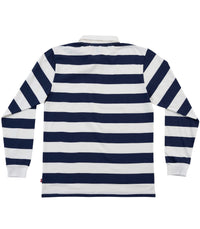 BIG STRIPES, L/S Polo navy white