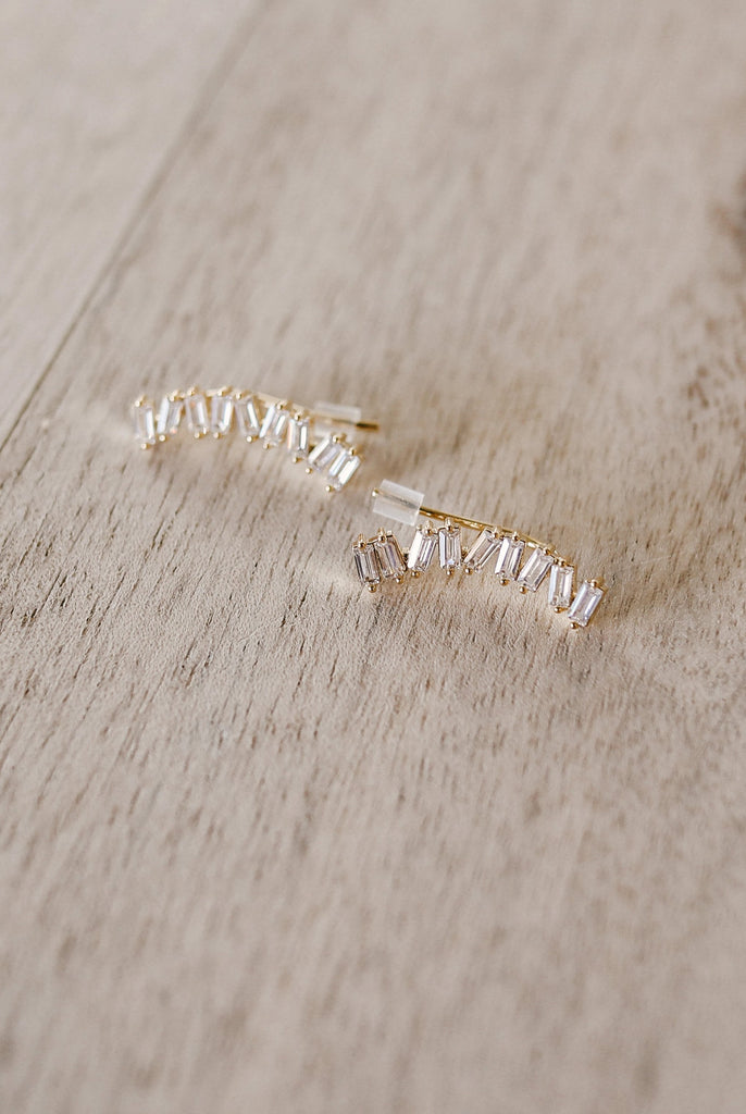 Baguette Curved Bar Earrings