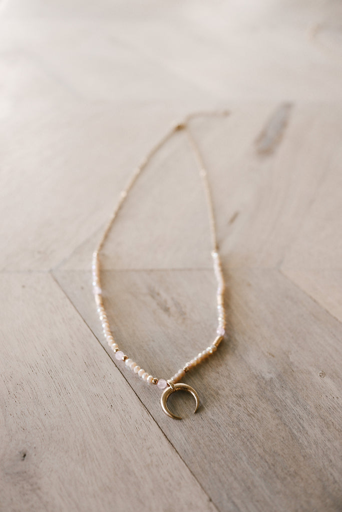 Crescent Horn Necklace - Natural + Gold