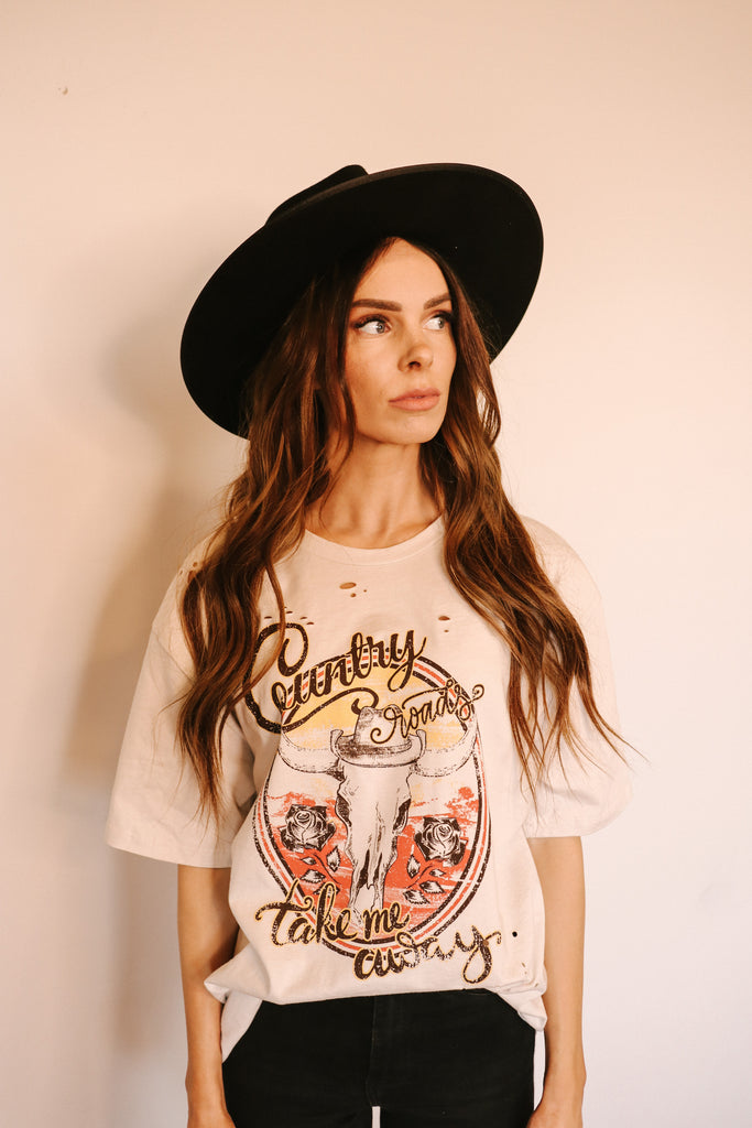 Distressed Country Roads Graphic Tee