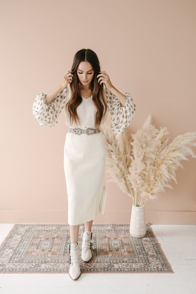 Ribbed Midi Skirt - Cream