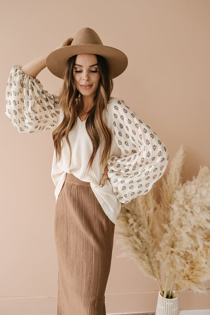 Feather Sleeved Boho Blouse