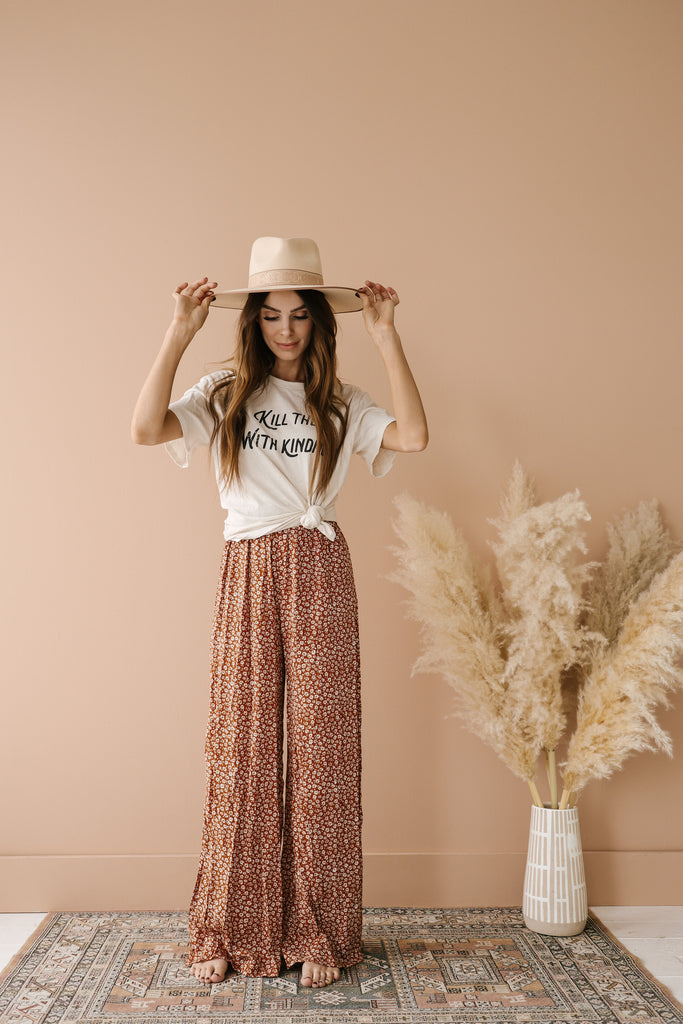 Ditzy Floral Wide Leg Pants - Copper