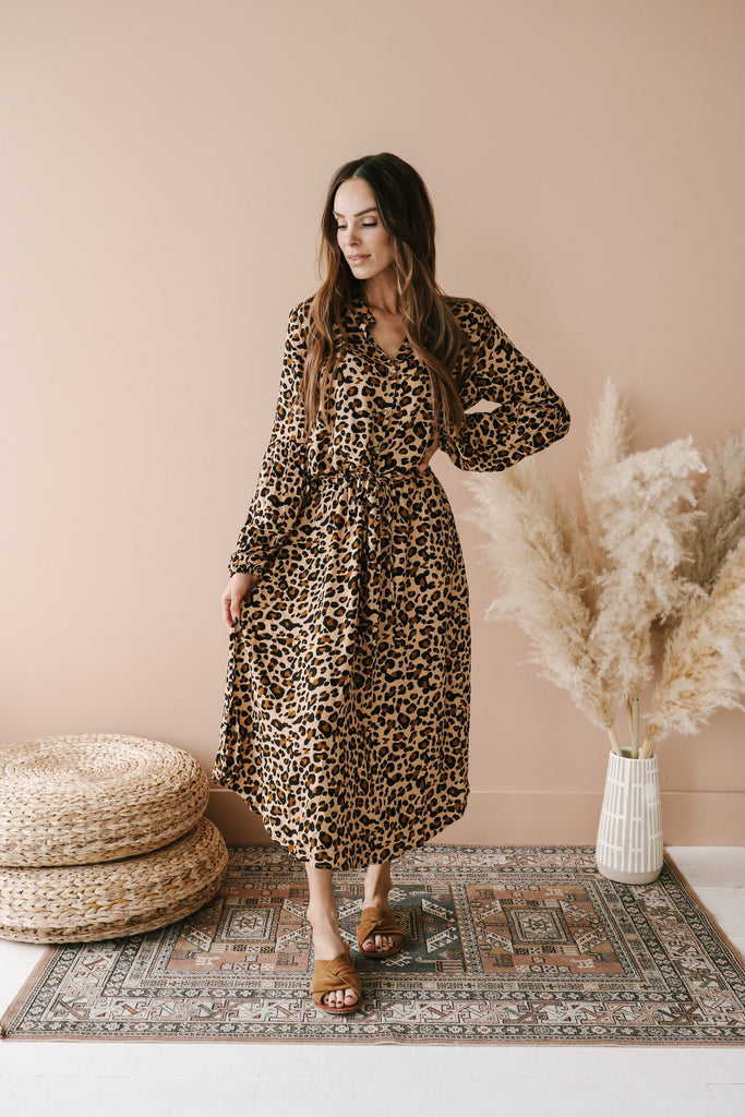 The Carole Leopard Midi Dress