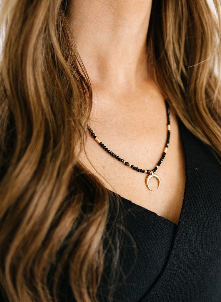 Crescent Horn Necklace - Black & Gold