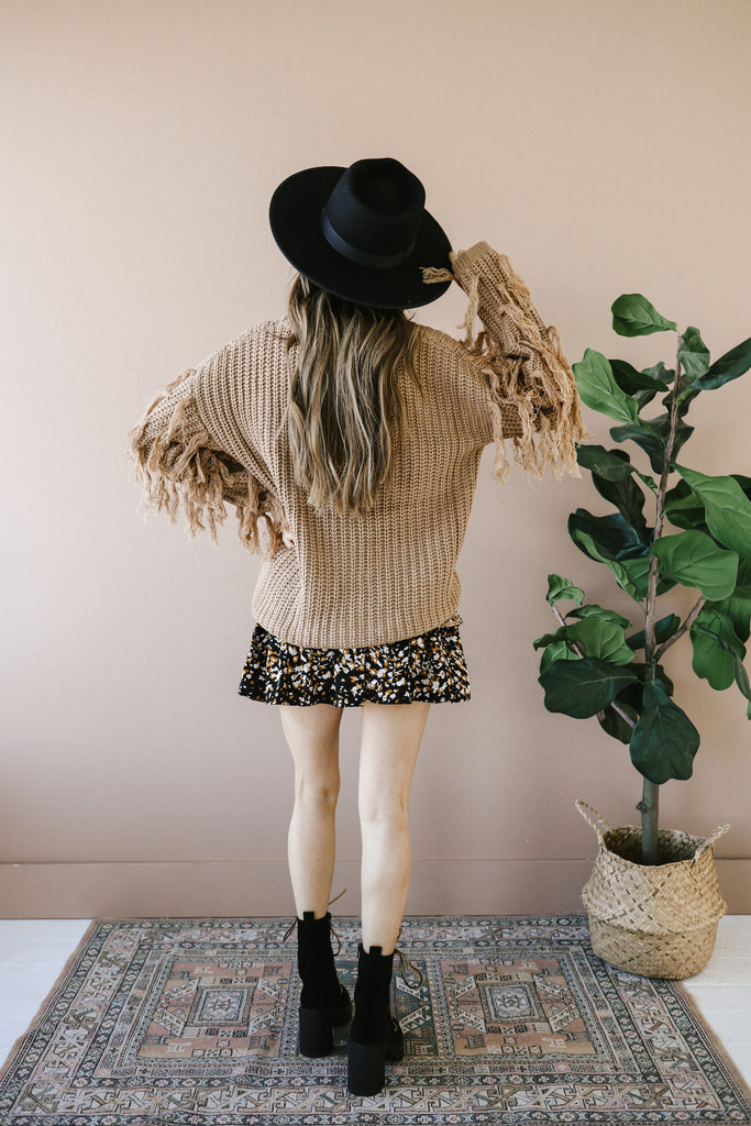 Toffee Fringe Knit Sweater