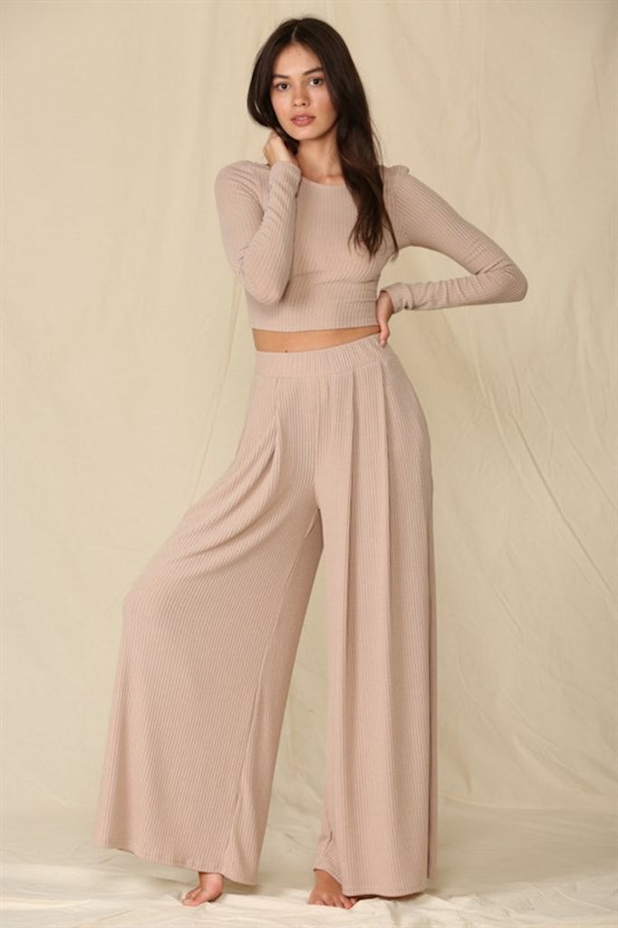 Come Out On Taupe Knit Set