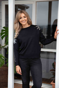 Roxy Sequin Jumper in Black