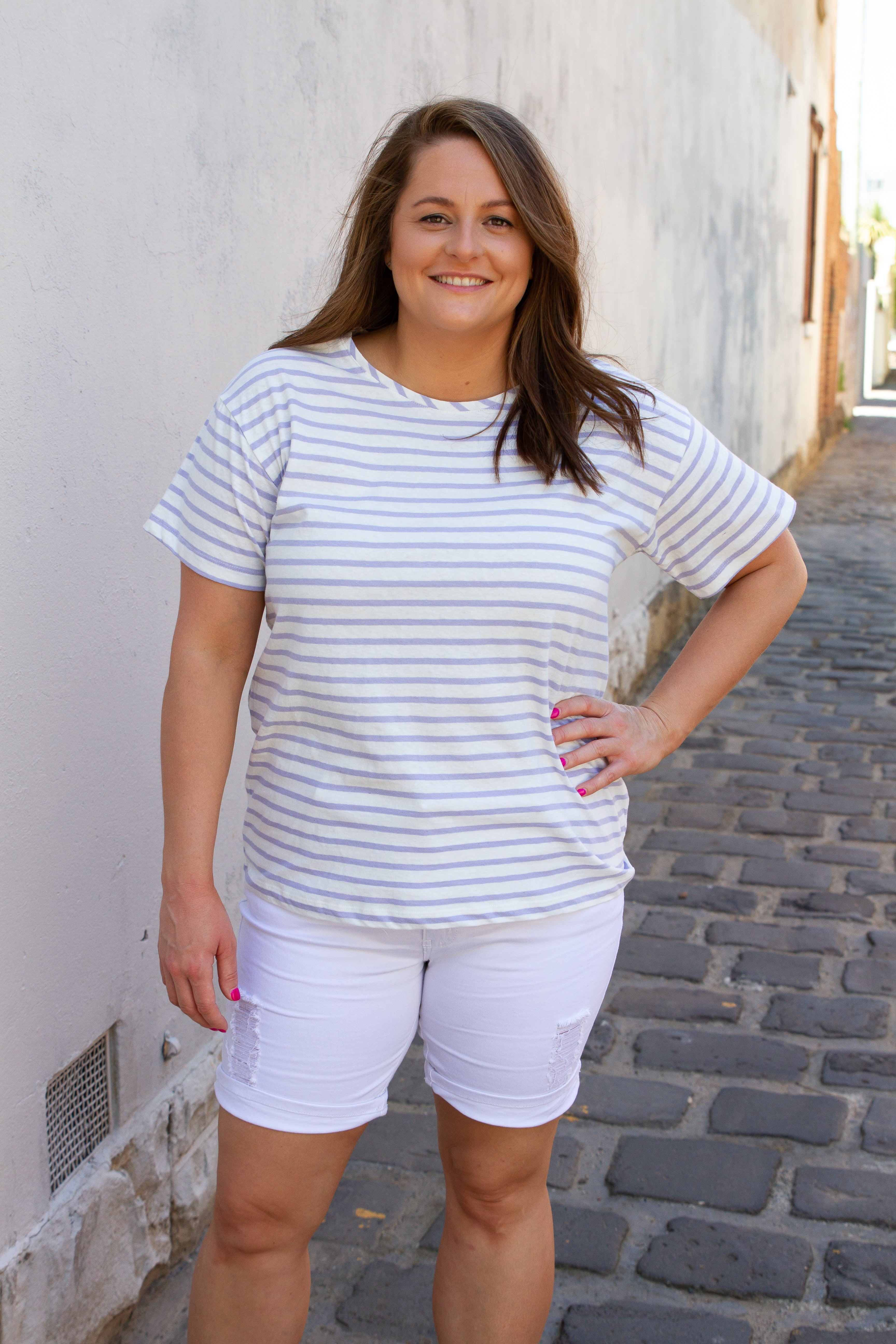 Colette Striped Tee in Lilac