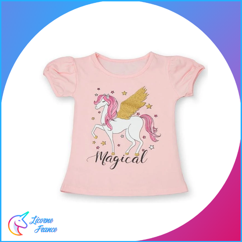 T-shirt Licorne Rose Magical Enfant