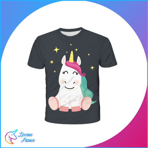 T-shirt Licorne Assise Enfant