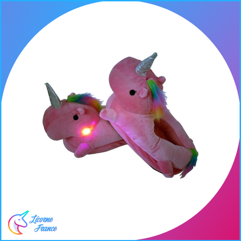 Chaussons Licorne Lumineux Rose C1 - Licorne France