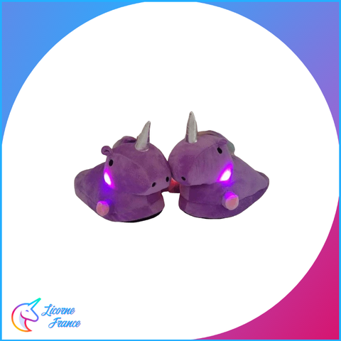 Chaussons Licorne Lumineux Violet - Licorne France